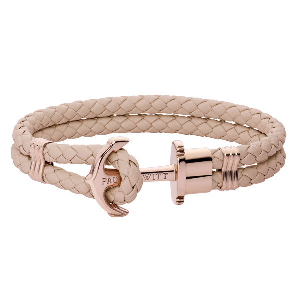Anchor Bracelet Phrep Rose Gold Leather Hazelnut