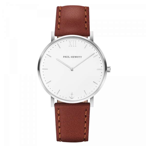 Montre Sailor White Sand Argenté Cuir Marron