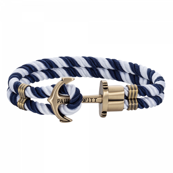 Anchor Bracelet Phrep Brass Nylon Navy Blue White