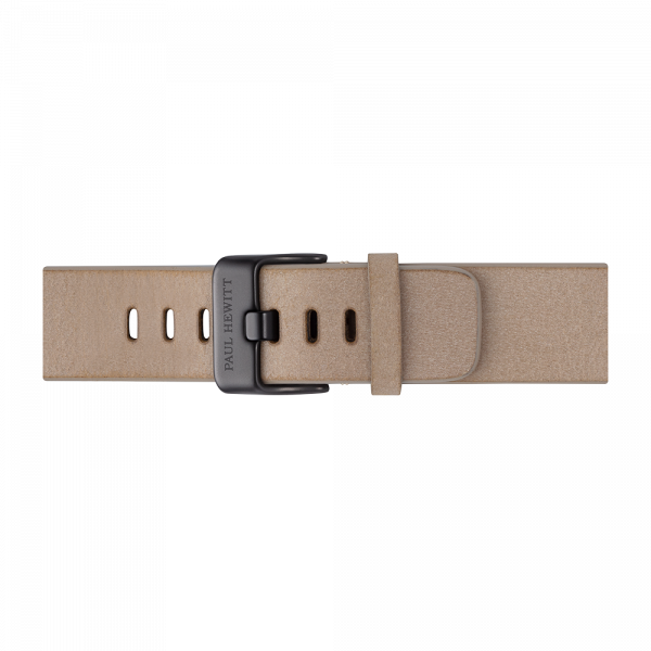 Watch Strap Leather Black Sandstone 20 mm