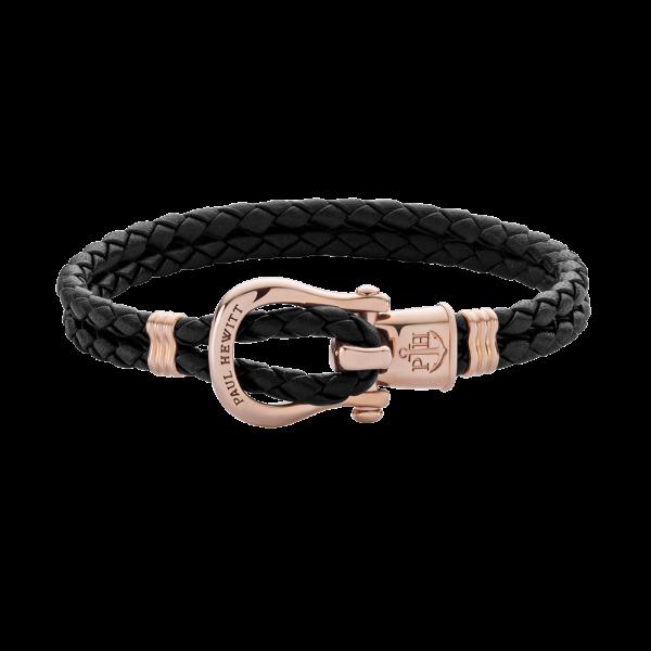 Bracelet Phinity Or Rose Cuir Noir