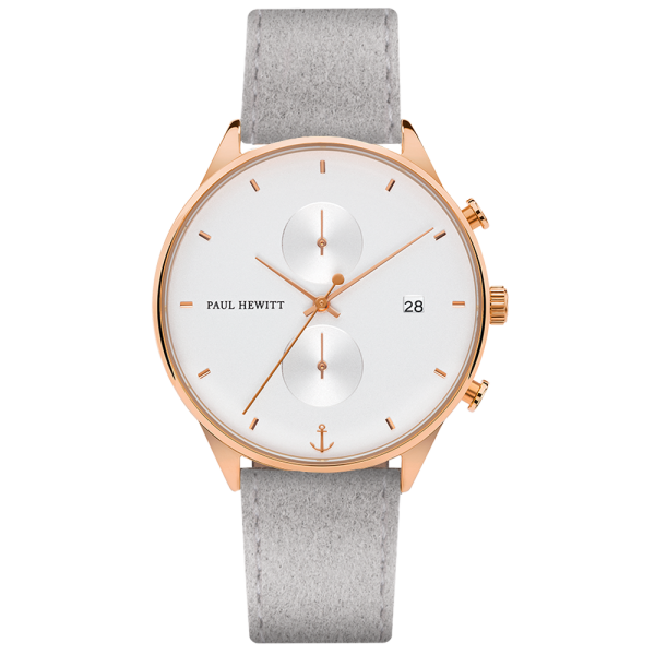 Watch Chrono White Sand Rose Gold Alcantara Grey