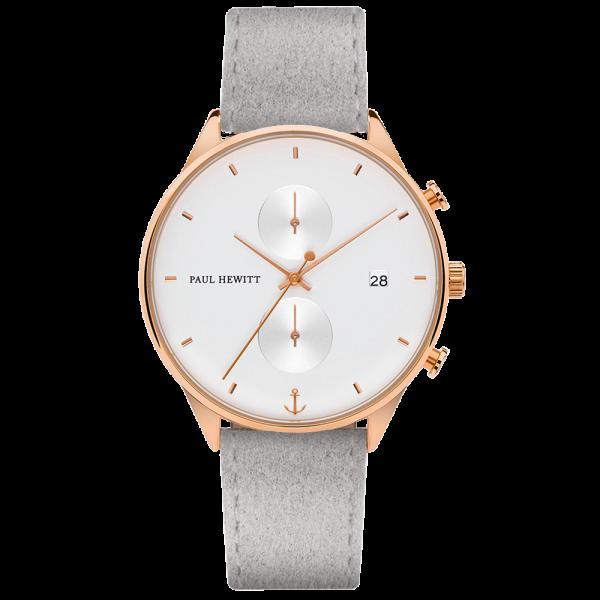 Uhr Chrono White Sand Roségold Alcantara Grau