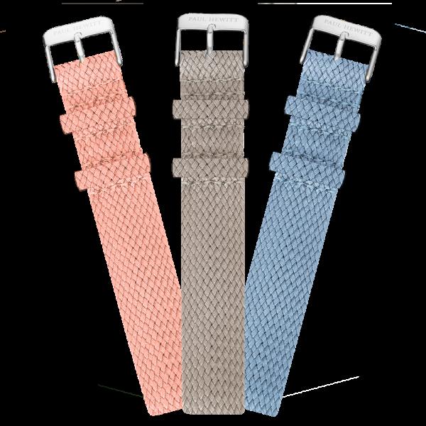 Set Bracelet de Montre Argenté Perlon I 20 mm