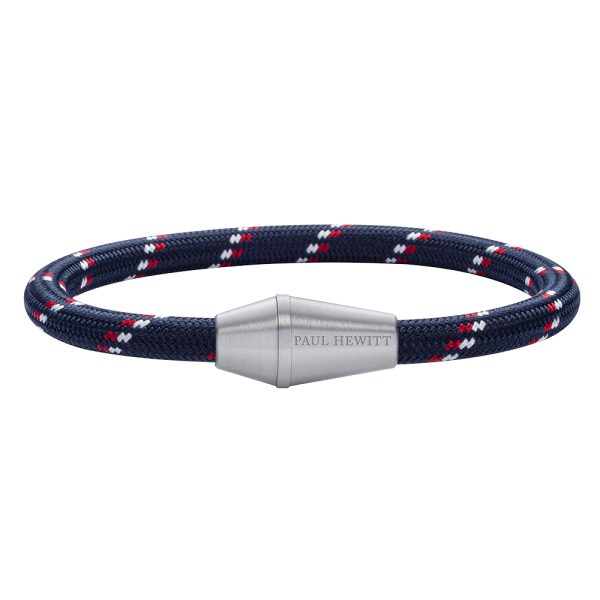 Bracelet Conic Silver Nylon Navy Blue Red White
