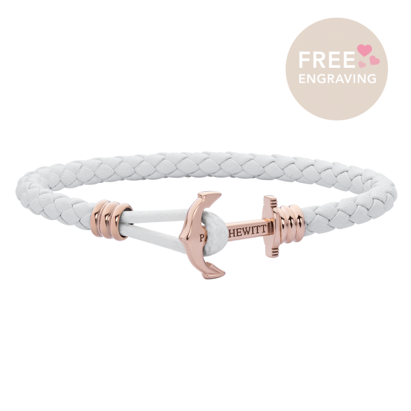Anchor Bracelet Phrep Lite Rose Gold Leather White