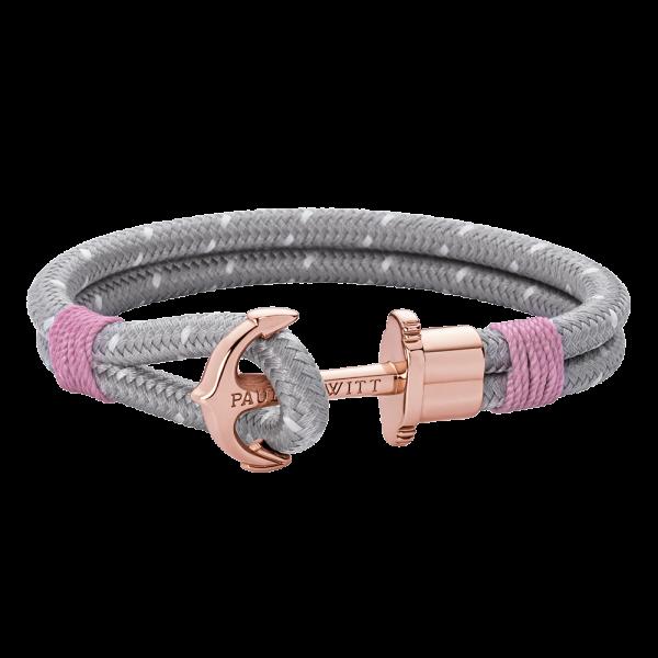 Bracelet Ancre Phrep Or Rose Nylon Gris Rose