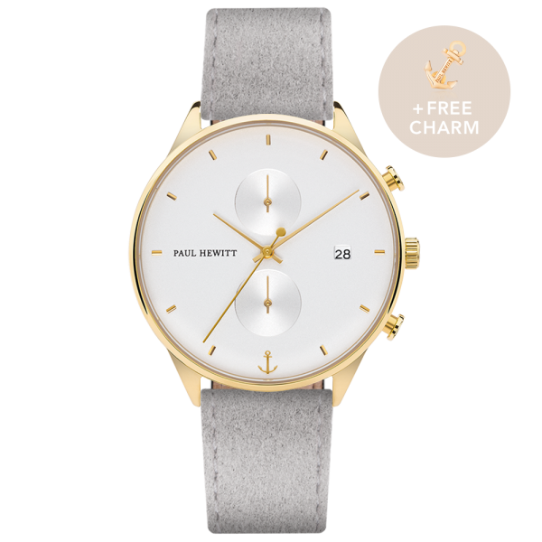 Watch Chrono White Sand Gold Alcantara Grey