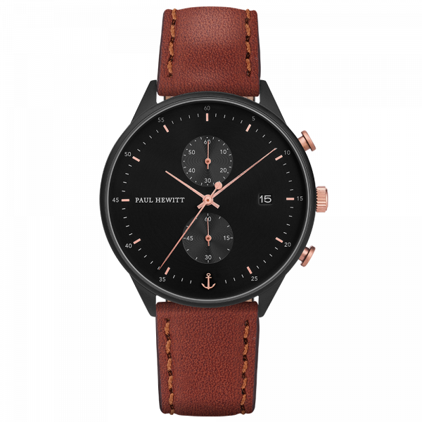 Montre Chrono Black Sunray Noir Or Rose Cuir Marron
