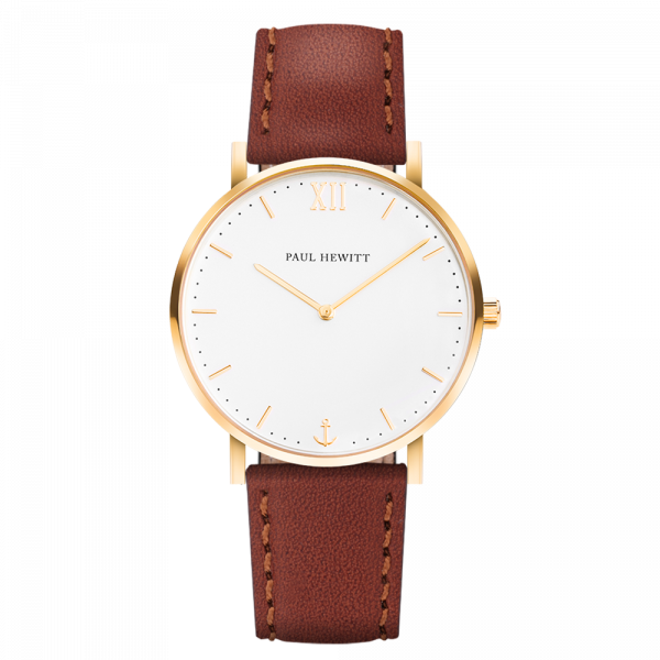 Uhr Sailor White Sand Gold Leder Braun