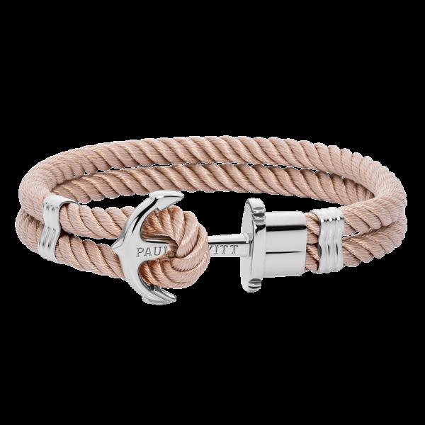 Anchor Bracelet Phrep Silver Nylon Hazelnut