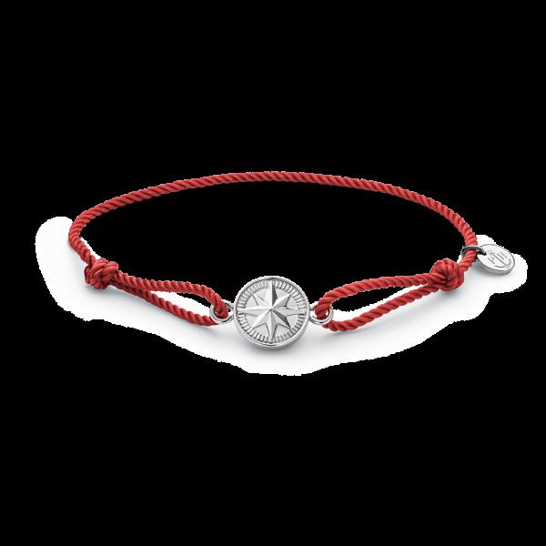 Bracelet Windrose Silver Amber Red