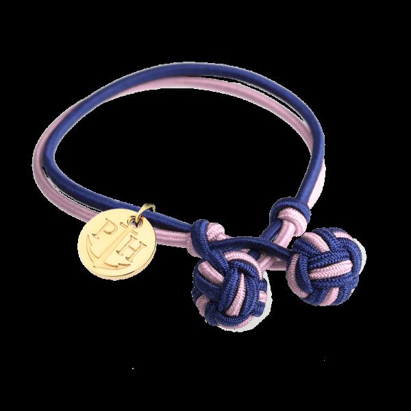 Knotbracelet Gold Nylon Navy Blue Light Pink