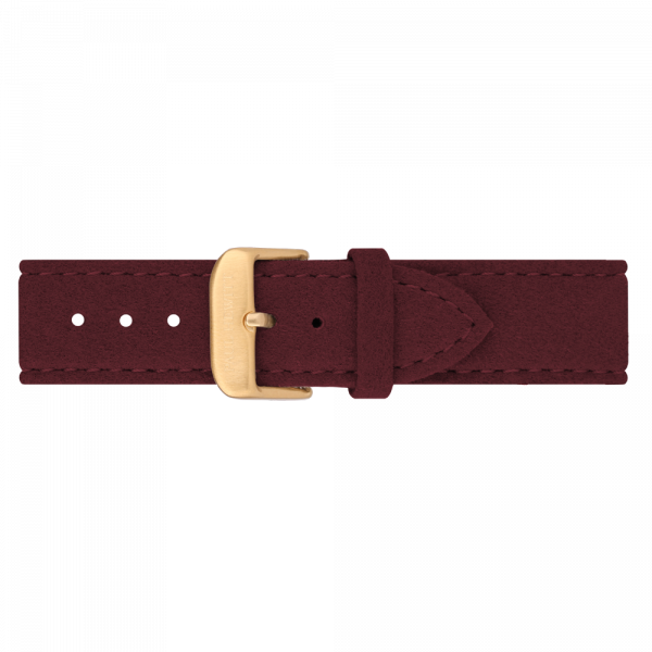 Uhrenarmband Alcantara Gold Dark Berry 20 mm