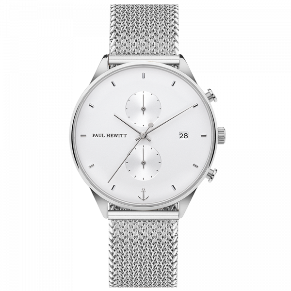 Watch Chrono White Sand Silver Woven Mesh