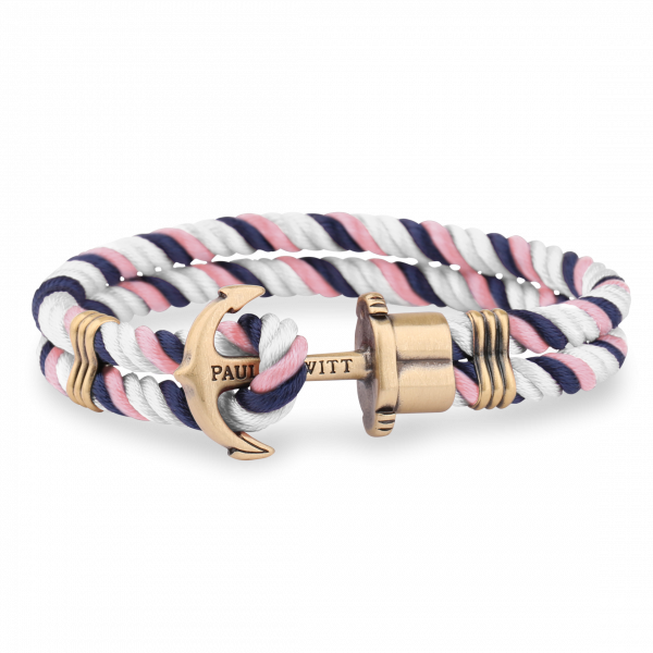 Anchor Bracelet Phrep Brass Nylon Navy Blue White Light Pink