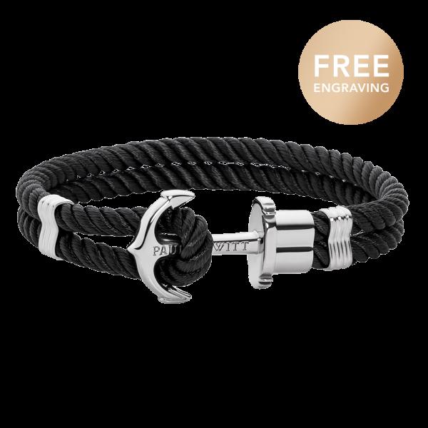 Bracelet Ancre Phrep Argenté Nylon Noir