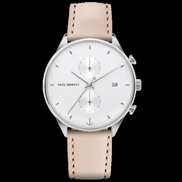 Watch Chrono White Sand Silver Leather Hazelnut