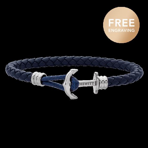 Anchor Bracelet Phrep Lite Silver Leather Navy Blue