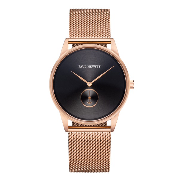 Watch Signature Black Sunray Rose Gold Mesh