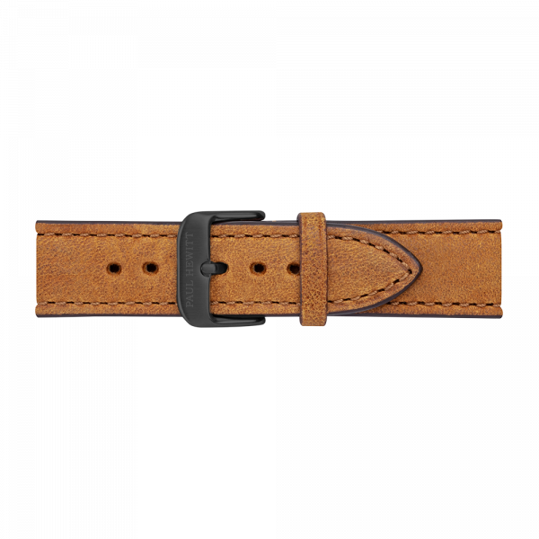 Watch Strap Leather Black Mustard 20 mm