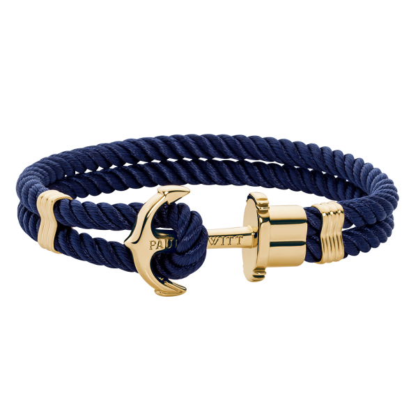 Anchor Bracelet Phrep Gold Nylon Navy Blue