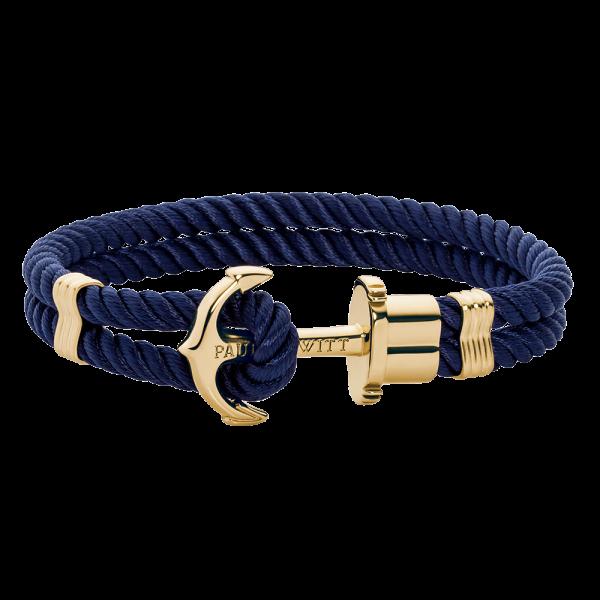 Bracciale Àncora Phrep Oro Nylon Blu Marino