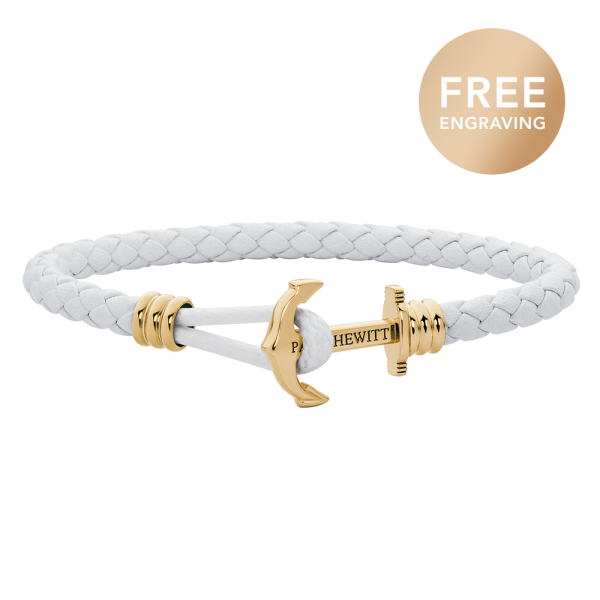 Bracelet Ancre Phrep Lite Or Cuir Blanc