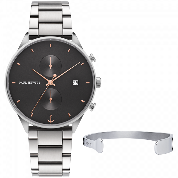 Set Perfect Match Chrono Midnight Ocean Silber Roségold und Paddle Cuff