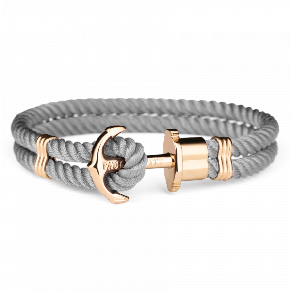 Bracelet Ancre Phrep Or Nylon Gris