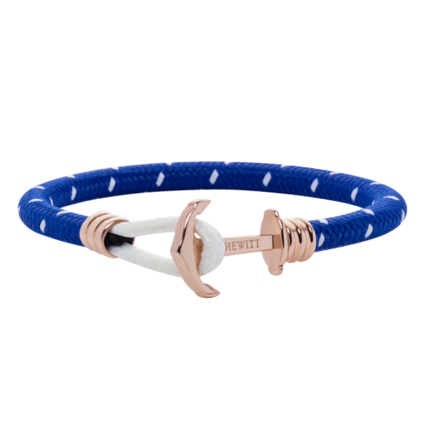 Anchor Bracelet Phrep Lite Rose Gold Nylon Light Blue White