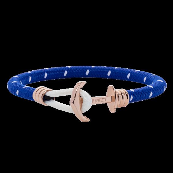 Bracelet Ancre Phrep Lite Or Rose Nylon Bleu Clair Blanc