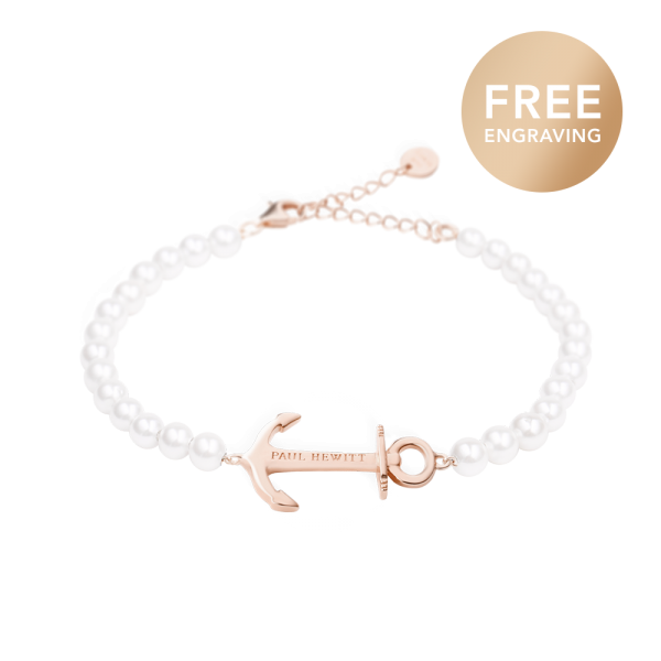 Bracelet Anchor Spirit Or Rose Pearl