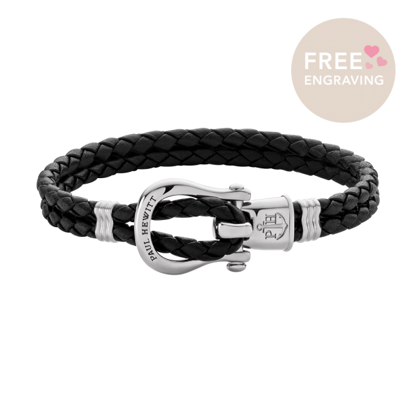 Bracelet Phinity Silver Leather Black