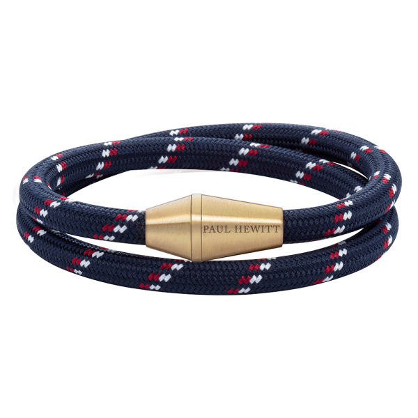 Bracelet Conic Wrap Brass Nylon Navy Blue Red White