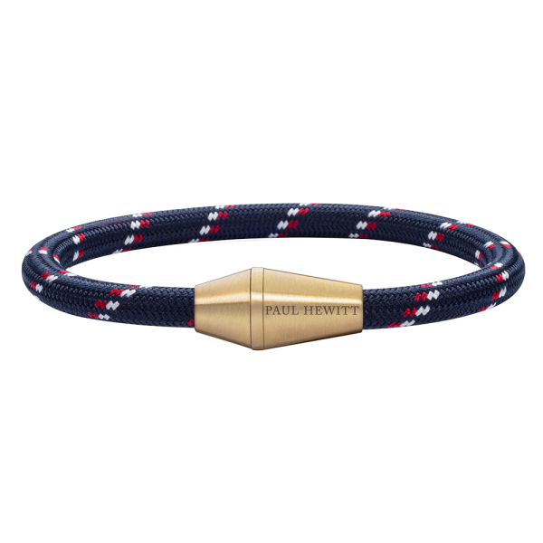 Bracelet Conic Brass Nylon Navy Blue Red White