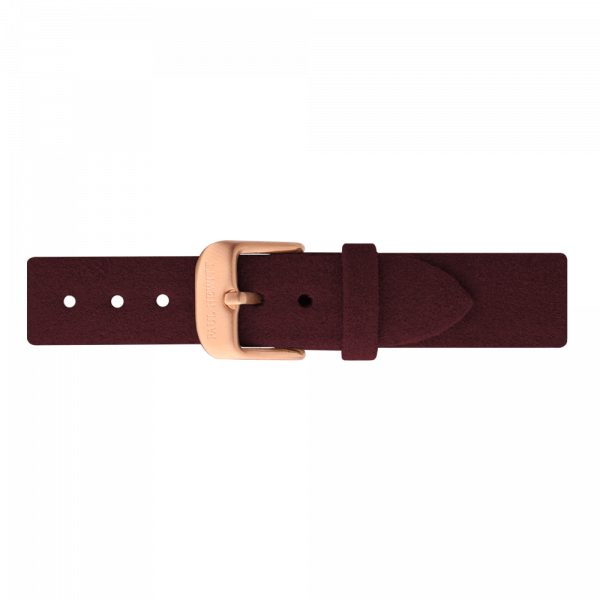 Watch Strap Alcantara Rose Gold Dark Berry 16 mm