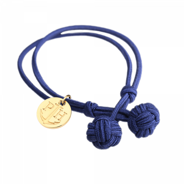 Knotbracelet Gold Nylon Navy Blue