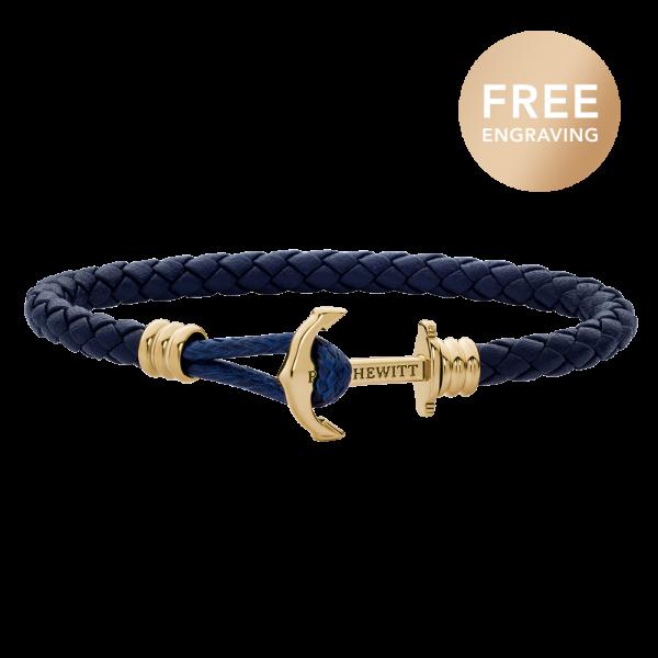 Ankerarmband Phrep Lite Gold Leder Marineblau
