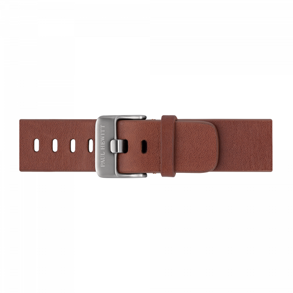 Watch Strap Leather Silver Mid Brown 20 mm