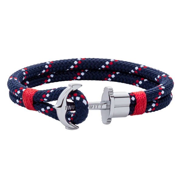 Anchor Bracelet Phrep Silver Nylon Navy Blue Red White