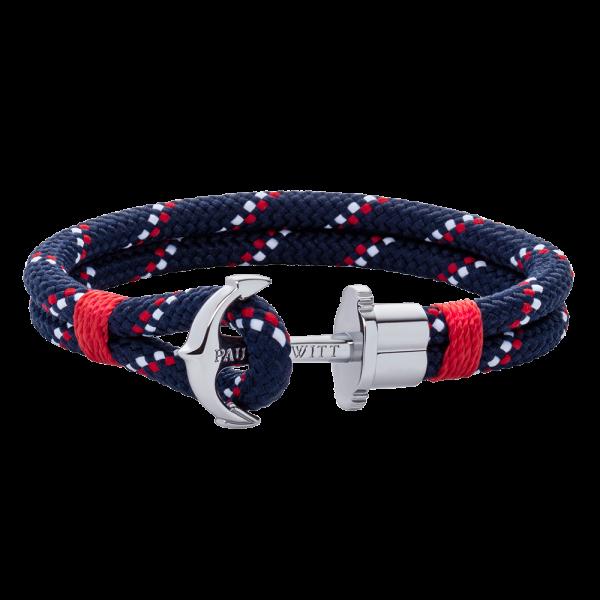 Bracelet Ancre Phrep Argenté Nylon Bleu Marine Rouge Blanc