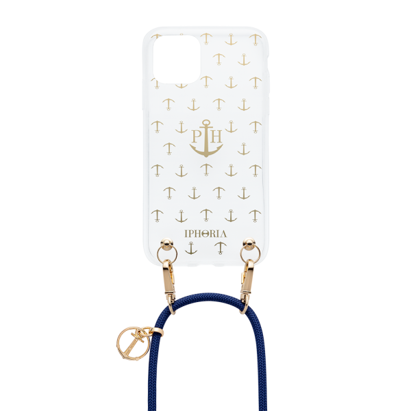 Phone Necklace Transparent Anchor Gold Dark Blue