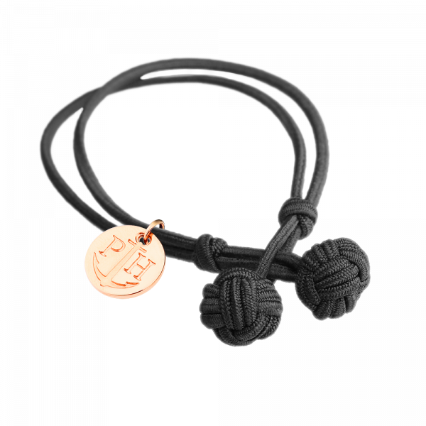 Knotbracelet Rose Gold Nylon Black