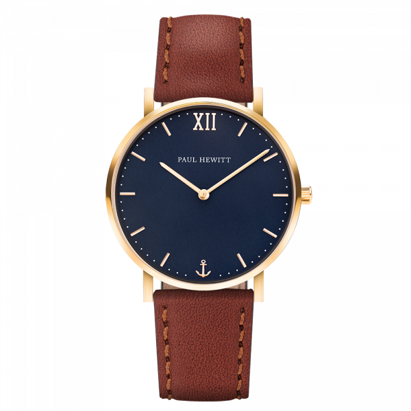 Montre Sailor Blue Lagoon Or Cuir Marron