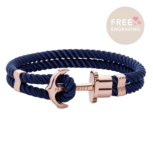 Bracelet Ancre Phrep Or Rose Nylon Bleu Marine