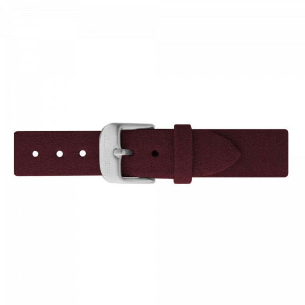 Watch Strap Alcantara Silver Dark Berry 16 mm