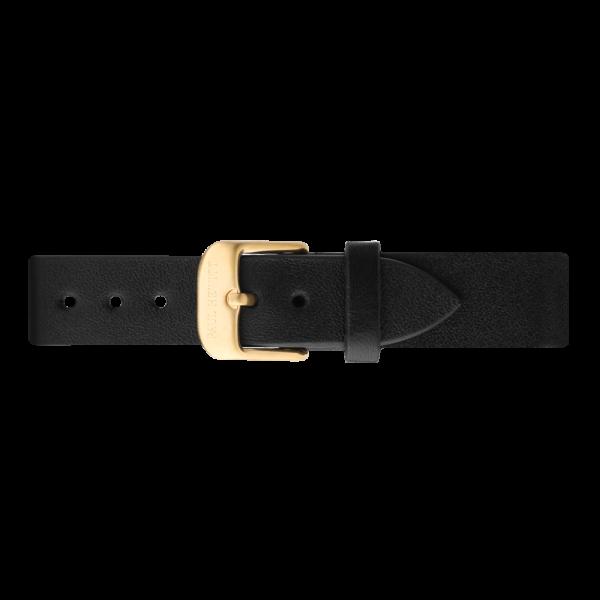 Cinturino Pelle Oro Nero 16 mm
