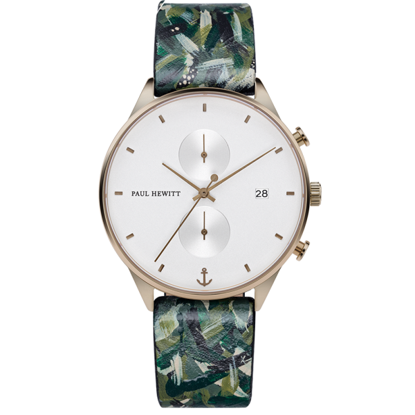 Watch Chrono White Sand Bronze Leather Camo
