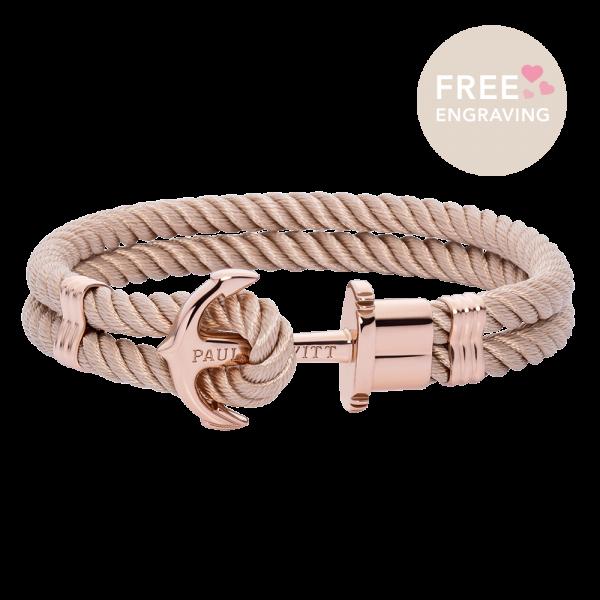 Bracelet Ancre Phrep Or Rose Nylon Hazelnut